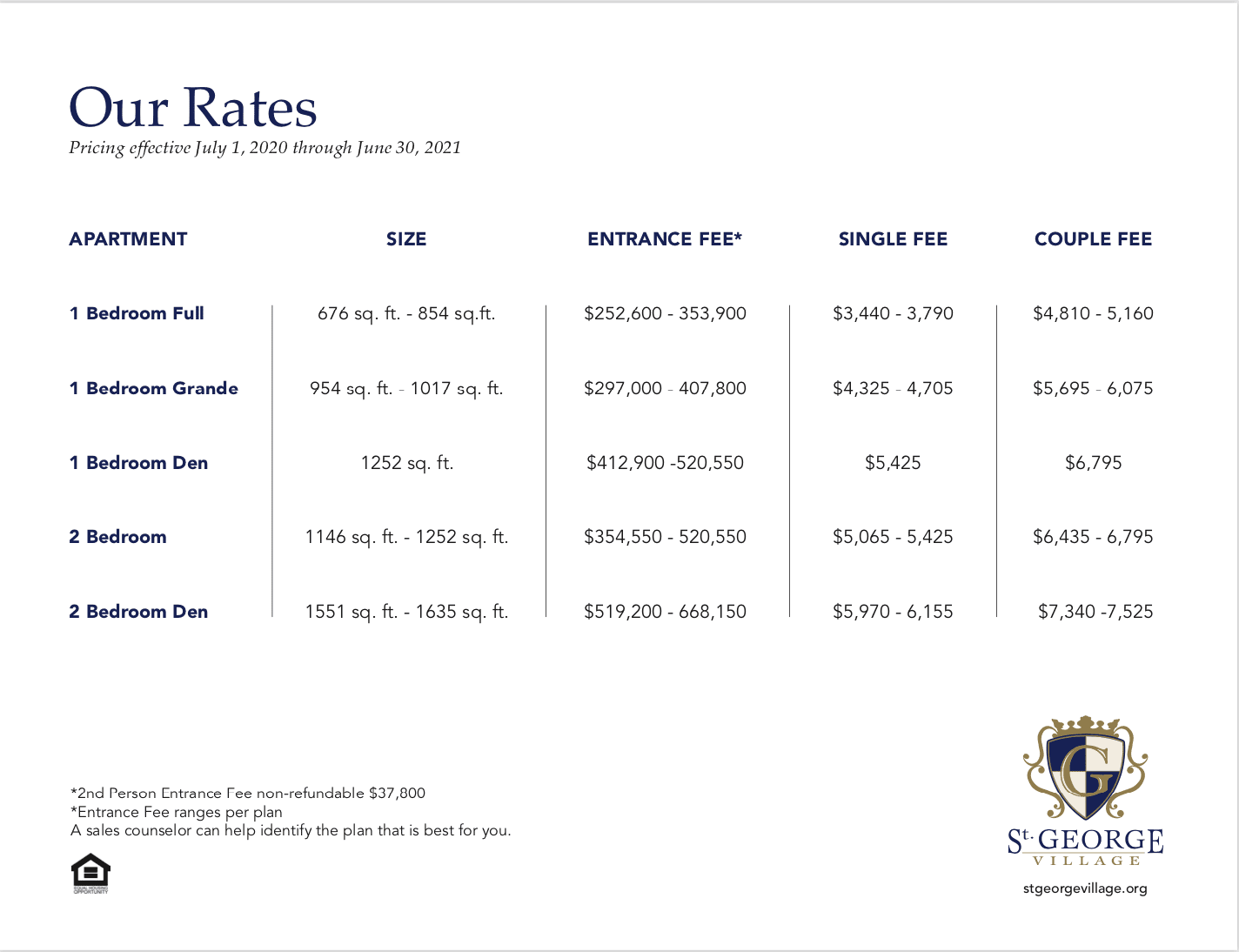 rate sheet